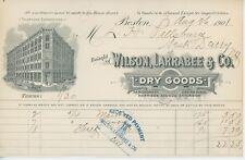 1901 Wilson Larrabee & Co. Billhead Boston MA Dry Goods Receipt