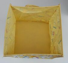 """HELLO KITTY Folding Collapsible Yellow Storage Bag Box Fabric Material 12"""" Sq"""