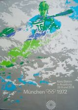 MUNICH 1972 OLYMPICS CANOEING A1 poster 23x33.5 OTL AICHER art NM Vintage