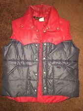 Vintage 70s Wrangler Cowboy Ranger Rodeo Insulated Nylon Trucker Vest Jacket L
