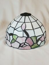 Stained Glass Lamp Shade Pink Flowers White Rose Garden Spring Victorian-Style