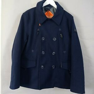 Superdry Mens Pea Coat XL Navy Label Blue Double Breasted Wool Blend Smart
