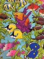 "Vintage Robert Kaufman Fabric 43.5"" 2 YD Tropical Fish EK-2106 BLUE Discontinued"