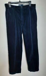 Vintage Polo Ralph Lauren Blue Corduroy Pleated Andrew Pant Men's Size 32 X 30