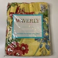 waverly tailored pleated valance yellow red blue floral print curtain 54x18 nwts