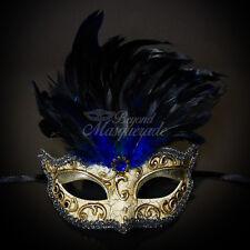 Masquerade Mask Feather Black Venetian Mardi Gras Masks for Women M2495B