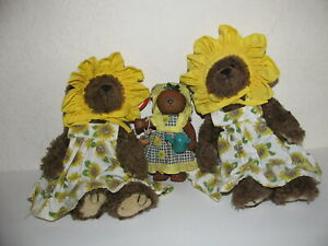 TWO TY Girl Bears & ONE Resin Bear/All with sunflower clothes/Cuties/Take Look.