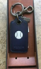 COACH Navy Blue Baseball Motif Leather Bottle Opener Keychain Backpack NWT  Boxed 7d370c3576
