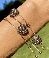 "Le Vian 14K Rose Gold 3 Chocolate Diamond Heart Station Bracelet LeVian 7.5"""