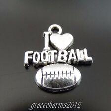 16808 Alliage 30PCS argent antique vintage mot Sports I Love Soccer Pendentif Charme