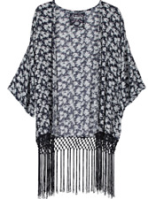 Ladies Superdry Navy White Floral Tassel Kimono Jacket Cover-up Top Size M