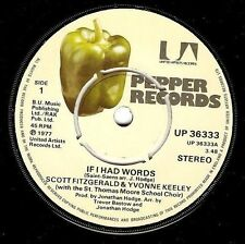 "SCOTT FITZGERALD & YVONNE KEELEY If I Had Words 7"" Vinyl Record Pepper 1977"