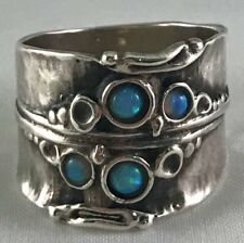 Gorgeous Art Nouveau Sterling and Opal Wide Ring, Amir Poran Israel Size 6-3/4