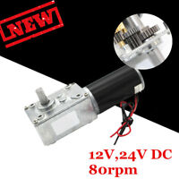 DC 12V 24V 80RPM Reversible High Power Torque Turbo Worm Electric Geared Motor
