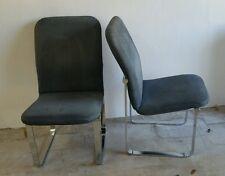DIA Design Instiute of America Milo Baughman Chrome and Fabric Dining Chairs