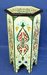 Moroccan Pedestal Table Tall Painted Cream Color Solid Wood Authentic Home Decor