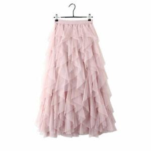 Tutu Ladies High Waist Ruffle Mesh Maxi Skirt Sheer Net Tulle Pleated Long Skirt