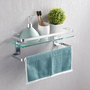KES Bathroom Tempered Glass Shelf with Anodized Aluminium Towel Bar