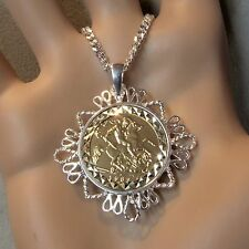 New Sterling Silver mount pendant & chain with genuine half sovereign