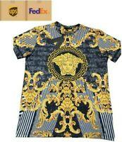 ACE VIP NWT MEN'S GOLD MEDUSA BAROQUE MOTIF SHORT SLEEVE SLIM FIT BLACK T-SHIRT