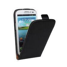 Black Leather Mobile Phone Flip Case Cover For Samsung Galaxy Model