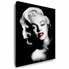 100x70cm Marilyn Monroe Portrait auf leinwand schwarz weiß Lippen Rot IKONE