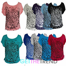 Womens Plus Size Tiger Ruched Top Ladies Tiger Print Baggy Loose Tshirt  10-28