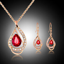 Gold Plated Teardrop Red Crystal Necklace & Earrings Set