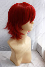 Short red akaito party cosplay Men's Hair wig WIGS + hairnet 1094