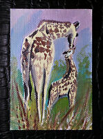 """Original art by Bastet """"Giraffe with Cub"""" OOAK hand painted ACEO"""