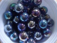 CLEAR GLASS MARBLES> 4 POUNDS 9/16 INCH +or- COBALT BLUE  LUSTER FINISH $13.99