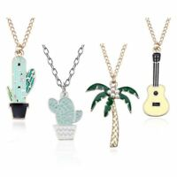 Fashion Cute Potted Coconut Cactus Pendant Necklace Enamel For Women Collares