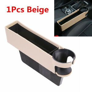 1X Universal Beige PU Leather Car Seat Crevice Storage Box Gap Filler Cup Holder