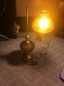 Vintage Brass Single Student Electric Oil Lamp Amber Glass Shade WORKS