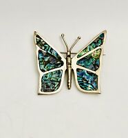 Vintage TAXCO Sterling Silver 925 Abalone Butterfly Pin Brooch