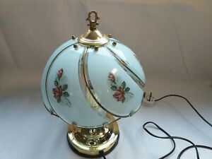 Vintage Style  Table Lamp - Brass/Ceramic/Glass, Floral Motif