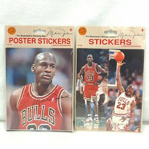 Micheal Jordan Stickers Vintage Jump Inc New 2 Packs, 2 Sheets Per Pack