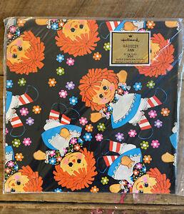Vintage Hallmark Raggedy Ann Gift Wrap Paper All Occasion 8 1/3 Square Feet