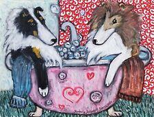 Honeymoon Suite Rough Collie Pop Art Print 8 x 10 Dog Sheltie Collectible Signed