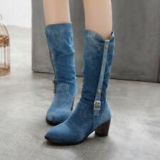 Womens Fashion Punk Rivet Buckle Strap Round Toe Mid Calf Boots Denim Block Heel