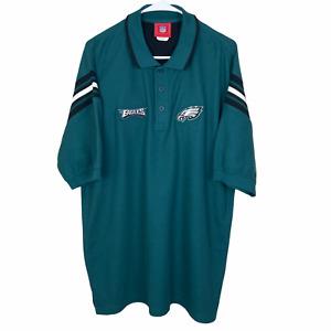 Philadelphia Eagles Polo Shirt Large Green Black Cotton Blend NFL Knit S/S