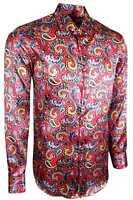 MENS PAISLEY SATIN SILK FEEL SHIRT FOR DRESS WEDDING FORMAL CASUAL £18.99 (427)