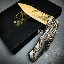 "9"" Gold Dragon Spring Assisted Open Tactical Folding Pocket Knife w/ Gift Box"