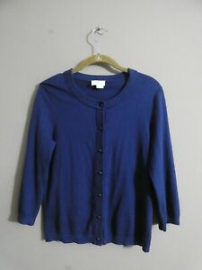 Kate Spade Women's S Blue Cashmere Blend Cardigan Sweater Button Up Bow Back