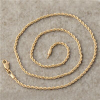 Twisted 18K Yellow Gold Filled Rope Mens Links Chain Necklace,24 Inch