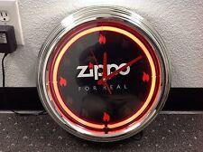 RARE ZIPPO LIGHTER FLAME NEON CLOCK MINT UNUSED IN ORIGINAL BOX