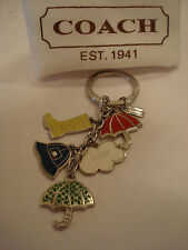 COACH  MULTI COLOR UMBRELLA, HAT, CLOUD AND BOOT KEY RING KEY CHAIN FOB - F92072
