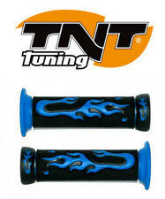 Poignees Flamme TNT Bleu Noir guidon Scooter Scoot Moto