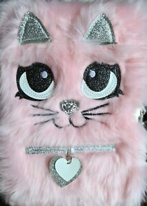 Busy Kid Plush Diary with Lock for Girls Glitter Kitty Notebook for Kids Light