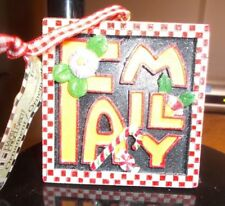 "Mary Engelbreit Christmas Ornament 3"" Sq Word Family In Gold Letters Red Trim"